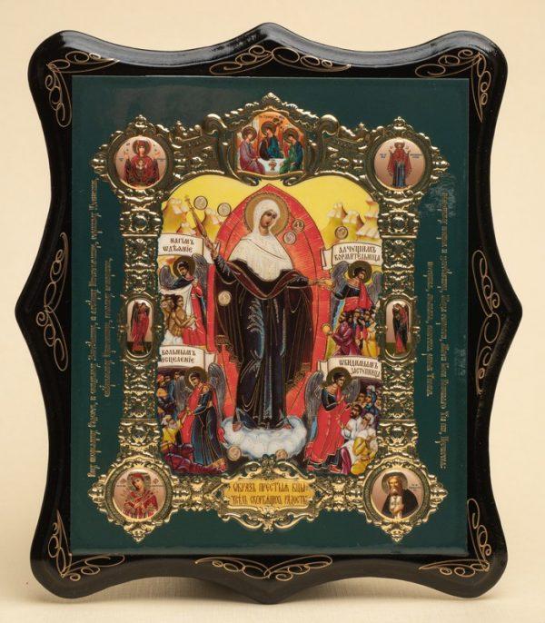 Панно деревянное, лаковое. Икона «Всех скорбящих Радость»