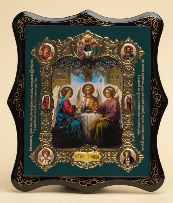 Панно деревянное, лаковое. Икона «Святая Троица»