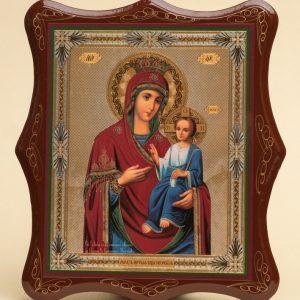 Панно деревянное, лаковое. Икона «Образ Пресвятой Богородицы Иверская»