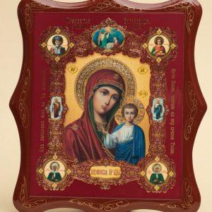 Панно деревянное, лаковое. Икона «Образ Пресвятой Богородицы Казанская»