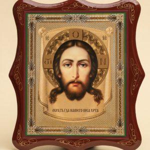 Панно деревянное, лаковое. Икона «Спас Нерукотворный»
