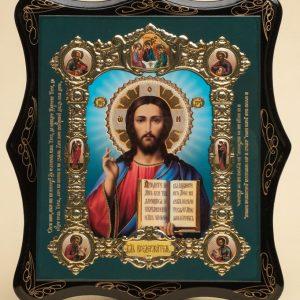 Панно деревянное, лаковое. Икона «Господь Вседержитель»