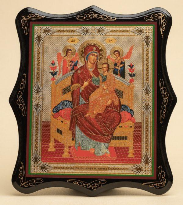 Панно деревянное, лаковое. Икона «Образ Пресвятой Богородицы Всецарица»